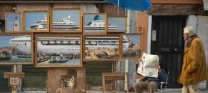 """Oeuvre de l'artiste Banksy """"Venise dans l'huile"""""""