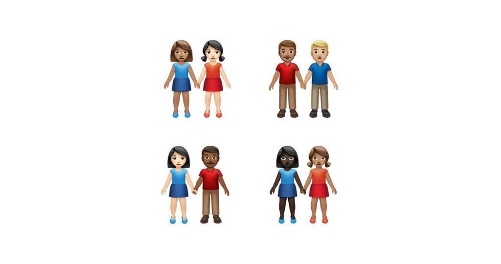 Plusieurs représentations de couples diverses en emoji