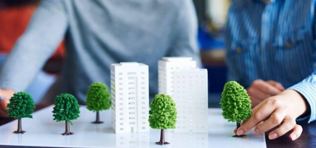 Maquette d'immeubles et d'arbres
