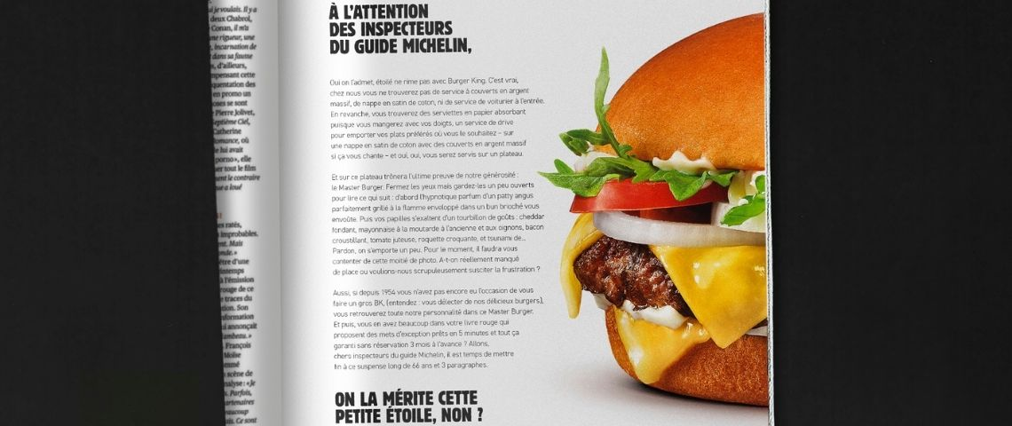 Lettre ouverte publiée dans la presse par Burger King