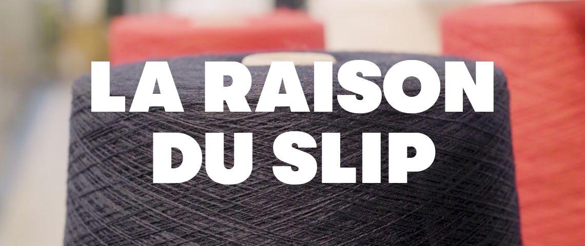 Accroche  - la raison du slip -  avec une bobine de fil en arrière plan