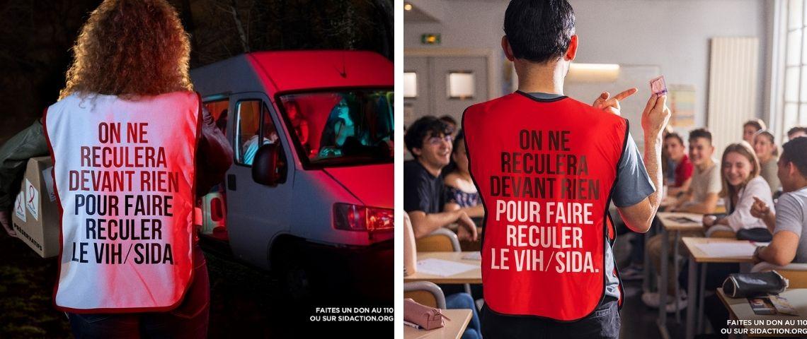 Une femme et un homme de dos avec une chasuble avec l'inscritpion suivante :on ne recule devant rien pour faire reculer le virus du sida.