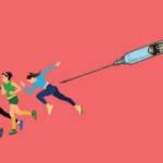 Seringue poursuivant des sportifs