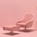 Un salon tout rose avec tous les meubles roses