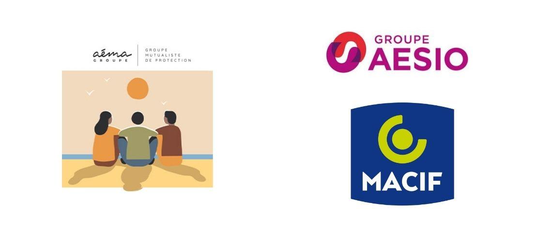 Logo Aéma Groupe, Aésio et Macif