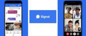 Logo Signal et capture d'écran de l'application