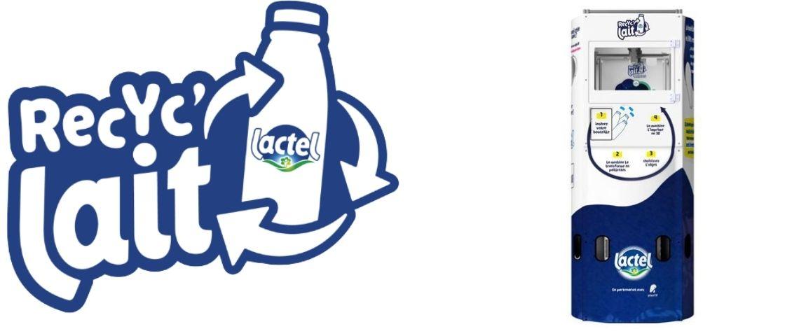 Logo Recyc'lait et mcollecteur de bouteilles de lait