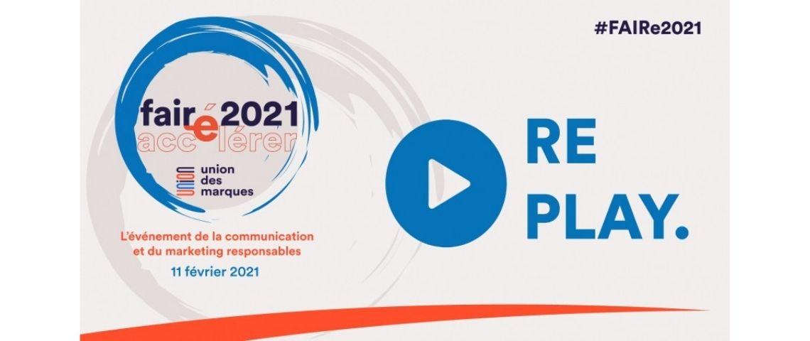 Capture d'écran du replay de la 3ème édition de l'évènement de l'Union des Marques consacrée à son programme FAIRe