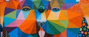 Tableau d'art contemporain, reprsentant un chien multicolore qui tire la langue