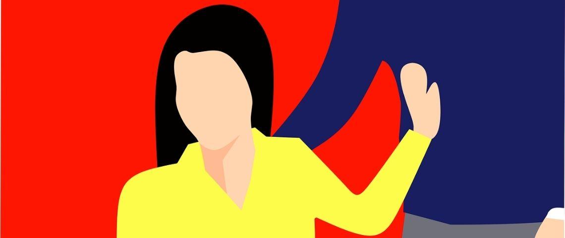 Illustration d'une femme assise sur une chaine, repoussant de sa main, un homme debout à côté d'elle qui a la main sur son épaule