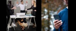 Image 1 : image le harcèlement au travail, une femme semble persécutée Image 2 : Un homme regarde son téléphone portable