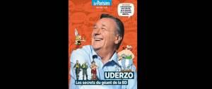 Hors série Albert Uderzo - Le Parisien - Photo de d'Uderzo accompagné de certains de ses dessins (Astérix et Obélix)