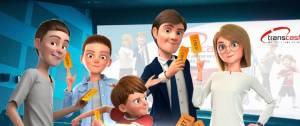 Une famille (père, mère, trois enfants) au cinéma. Personnages de dessin animé