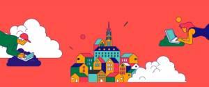 Illustration, jeunes dans les airs devant un oridnateur et au centre un village, le tout sur fond rouge