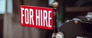 """Un panneau """"For hire"""""""