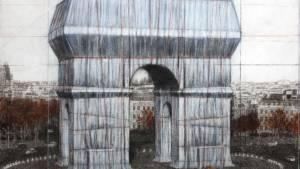 Croquis de Christo de l'enveloppement de l'Arc de Triomphe