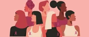 Images de femmes avec le ruban rose de l'octobre rose.