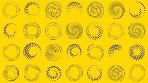 Différents types d'ellipses sur fond jaune