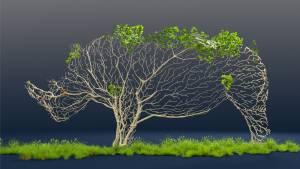 Rhinoceros fait d'arbre et de verdure